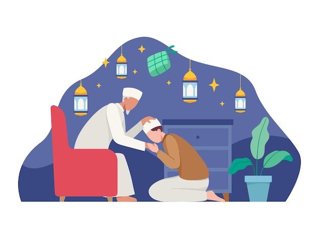 Moslimmensen vieren eid al fitr. gezinnen komen samen. illustratie in een vlakke stijl