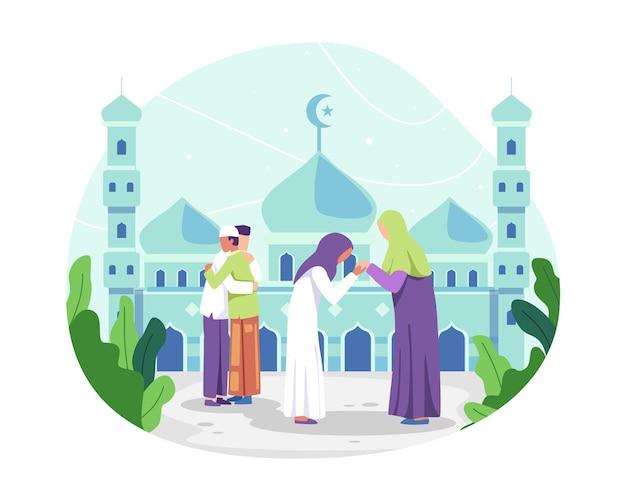 Moslimmensen vieren eid alfitr, moslimman die elkaar knuffelen en wensen