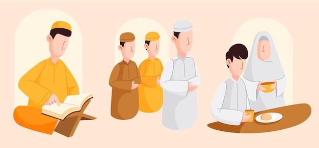 Moslimmensen zijn actief in de ramadan