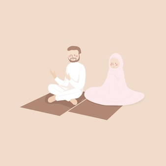 Moslimpaar dat samen in jamaah bidt in de gebedsmat