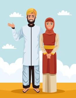 Moslimpaar in woestijn