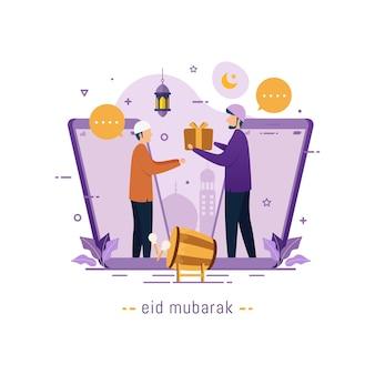 Moslims communiceren videogesprekken
