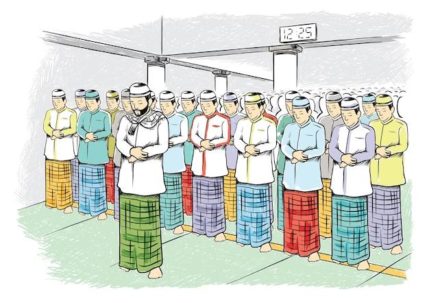 Moslims die in een moskeeillustratie bidden