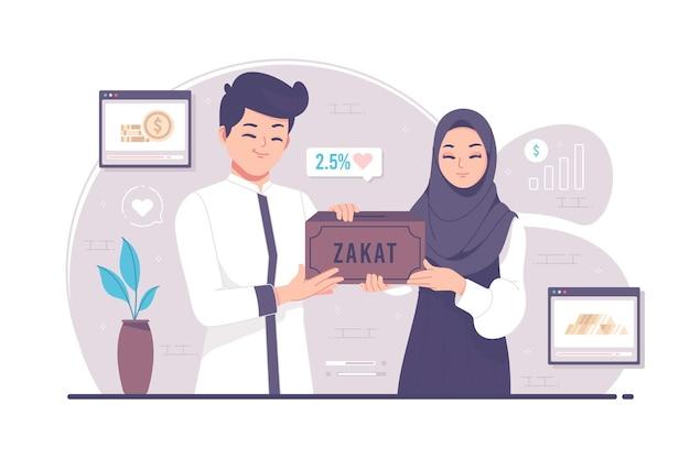 Moslims geven aalmoezen of zakat in de maand ramadan