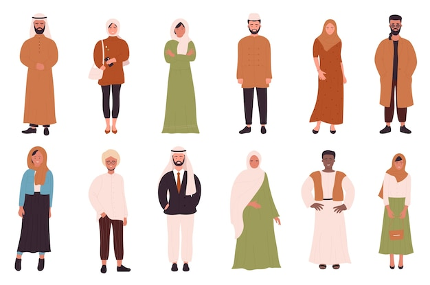 Moslims mensen instellen met platte gelukkig jonge moslim man vrouw stripfiguren in verschillende kleding