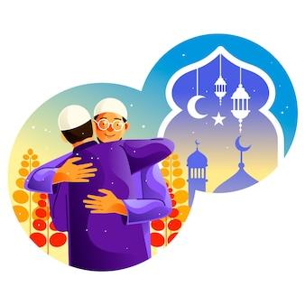 Moslims omhelzen elkaar terwijl ze ramadan vieren