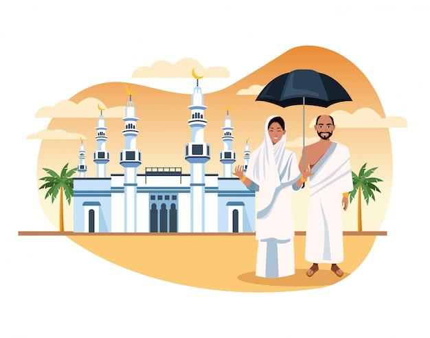 Moslims personen in hadj mabrur reizen viering