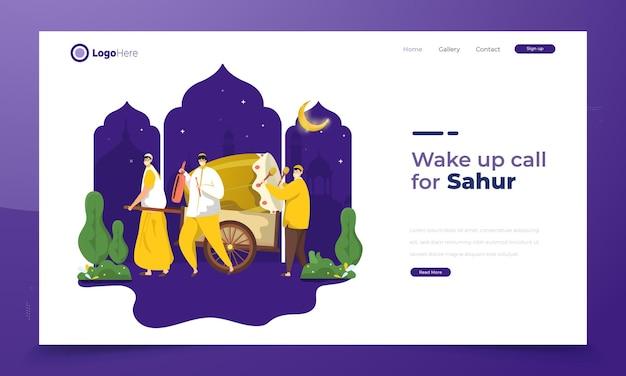 Moslims wakker maken voor sahur ramadan of vroeg eten voordat ze vasten illustratie