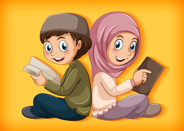 Moslimstudenten die het boek lezen