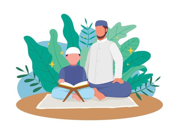Moslimvader leert zijn zoon koran lezen. de koran lezen en bestuderen. illustratie in een vlakke stijl
