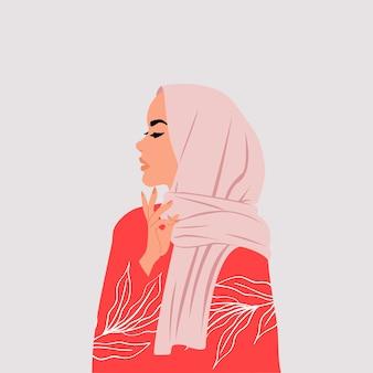 Moslimvrouw die hijab zijprofiel draagt met denkende handhouding.