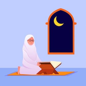Moslimvrouw die koraal islamitisch heilig boek leest