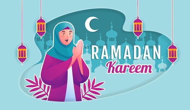 Moslimvrouw die ramadan kareem verwelkomt