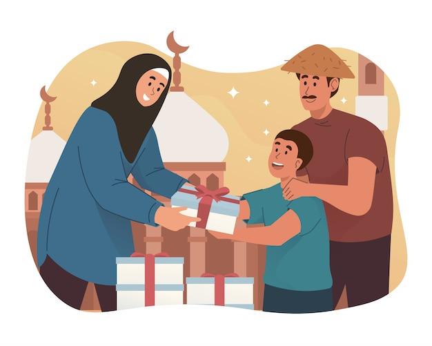 Moslimvrouw die voedsel geeft aan arme mensen
