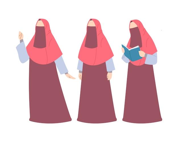 Moslimvrouw dragen hijab en boerka tekenset