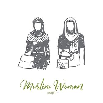 Moslimvrouw illustratie in de hand getekend