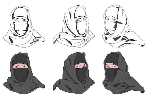 Moslimvrouw in niqab vector tekenfilm set geïsoleerd op een witte achtergrond.