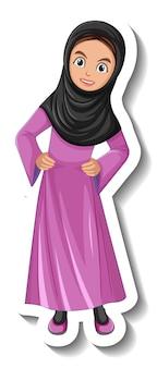 Moslimvrouw stripfiguur sticker op witte achtergrond