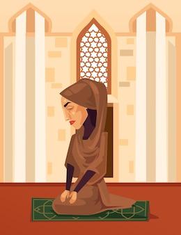 Moslimvrouw teken bidden in moskee, platte cartoon afbeelding