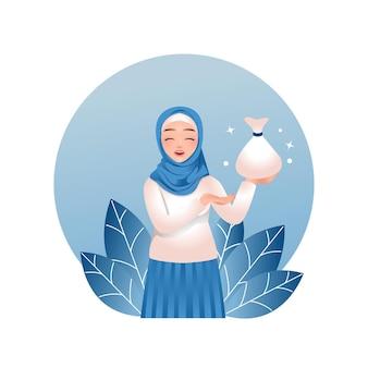 Moslimvrouwen geven aalmoezen of zakat in de maand ramadan Premium Vector