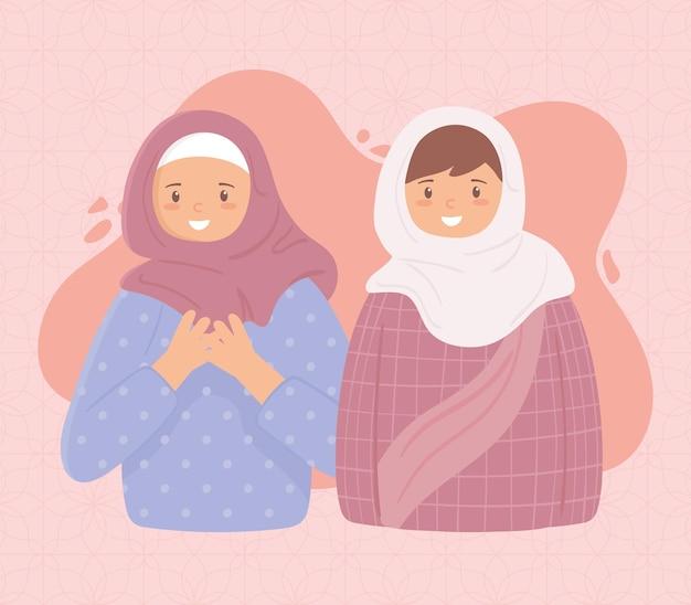 Moslimvrouwen in traditionele hijaab