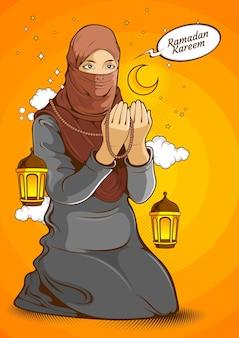 Moslimvrouwen, islamitische vrouw die hijab draagt terwijl ze de handen in de lucht steekt en bidt voor allah god in de heilige maand ramadan kareem, komische illustratie.