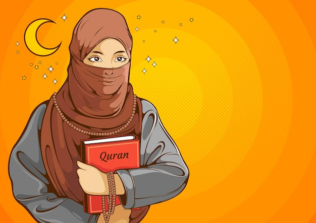 Moslimvrouwen, islamitische vrouwen die hijab dragen en de schrift vasthouden.