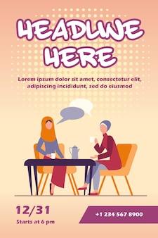 Moslimvrouwen ontmoeten elkaar in arabische coffeeshop flyer-sjabloon