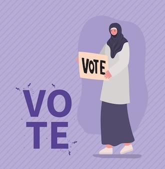 Moslimvrouwenbeeldverhaal met het ontwerp van de stembanner, de dag van de stemverkiezingen en het overheidsthema.