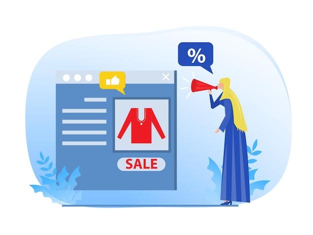 Moslimvrouwpromotie via digitale marketing marketeer kortingen bedrijfsconcept vectorillustrator