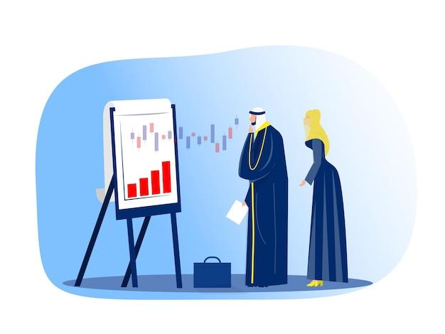 Moslimzakenman die financiële grafiek op het concept van de flipchartbeurs kijkt