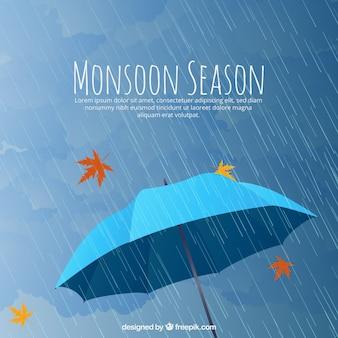 Mosoon seizoen samenstelling met platte ontwerp