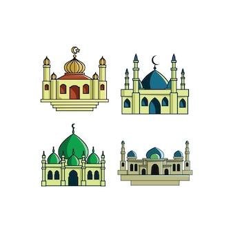 Mosques platte illustraties instellen