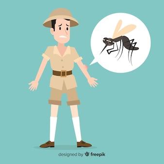Mosquito bijt een persoon met een plat ontwerp