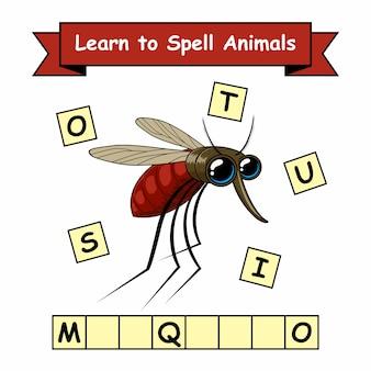 Mosquito learn spell animals-werkblad