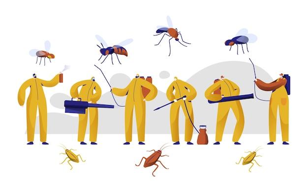Mosquito pest control professional character set. man in uniform gevecht met insect met chemische insecticide vernevelingsspray. kakkerlak giftige bescherming begassing platte cartoon vectorillustratie