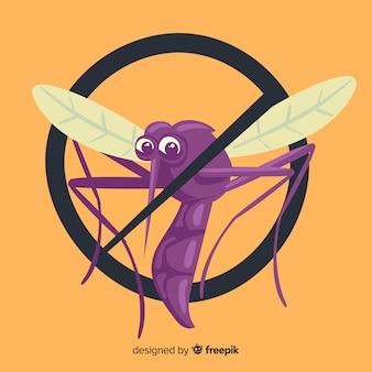 Mosquito waarschuwingsbord met platte ontwerp