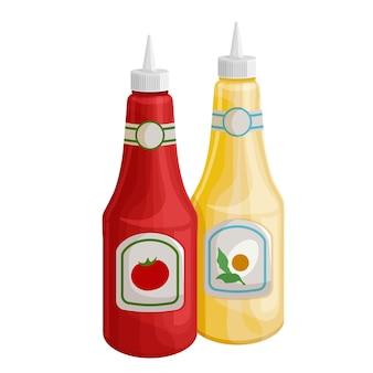 Mosterd en tonato ketchup pictogram. dispensers voor mosterd en ketchup, knijpflesjes voor fastfood.