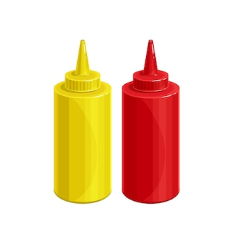 Mosterd en tonato ketchup vector pictogram.