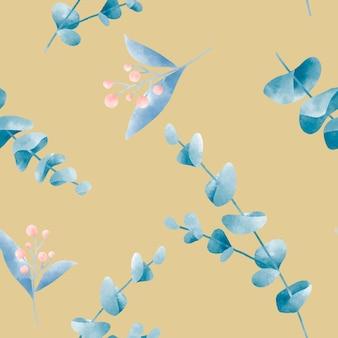 Mosterd gele aquarel blad patroon vector