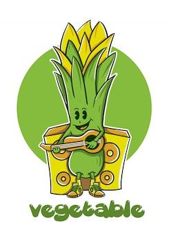 Mosterd groenen karakter spelen gitaar muziek vectorillustratie