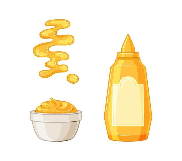 Mosterd. hete fles amerikaanse mosterdsaus, kom, lepel, plons. ingesteld op een witte achtergrond.