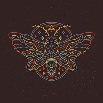 Mot vlinder bug neon monoline stijl ontwerp