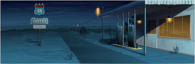 Motel in woestijn en nacht