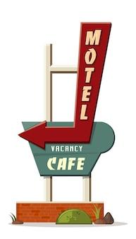 Motel vacature cafe. wegwijzer voor motel in retro stijl. geïsoleerd op wit