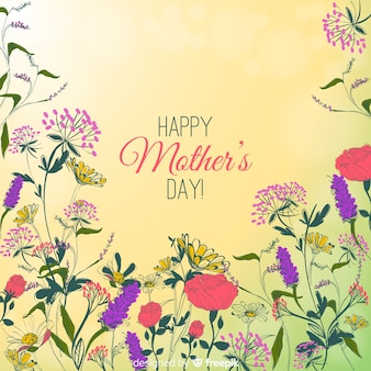 Mother's day hand getrokken floral achtergrond