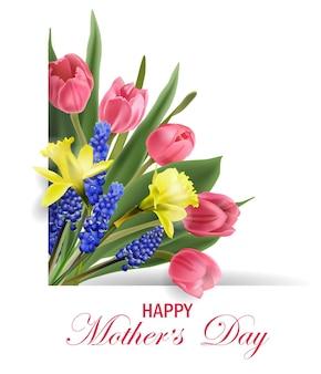 Mothers day concept wenskaart met bloeiende lentebloemen roze tulpen narcissus