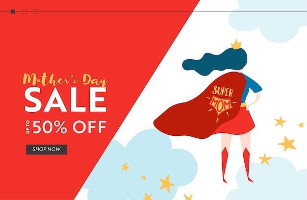 Mothers day sale banner met superheld moeder voor bestemmingspagina. mother day promo seizoensgebonden korting lente ontwerp voor website, webpagina. vector illustratie