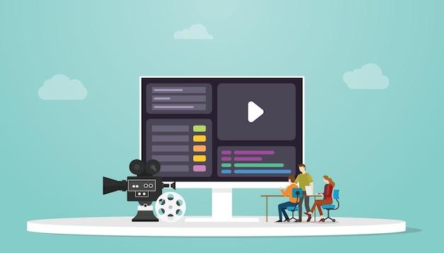 Motieontwerpconcept met mensenontwerper en computerscherm