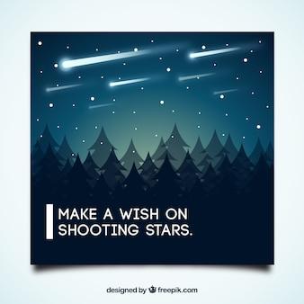 Motievendiecitaat kaart met vallende sterren